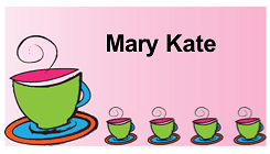 Tea Party Place Card with Teapot and Cups